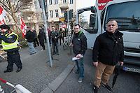 Kundgebung von 15 NPDlern vor der SPD-Zentrale in Berlin am Samstag den 1. Maerz 2014.<br />50 bis 60 Menschen protestierten lautstark gegen die Rechten.<br />Am Microphon: Josef Graf, Mitglied im Landesvorstand der NPD-Berlin.<br />Rechts hinter Graf mit Plakat in der Hand Jan Sturm, NPD-Berlin.<br />2.vr.: Sebastian Schmidtke, Vorsitzender der NPD-Berlin.<br />Rechts hinter dem Redner mit Plakat in der Hand: Jan Sturm, NPD-Berlin.<br />1.3.2014, Berlin<br />Copyright: Christian-Ditsch.de.<br />[Inhaltsveraendernde Manipulation des Fotos nur nach ausdruecklicher Genehmigung des Fotografen. Vereinbarungen ueber Abtretung von Persoenlichkeitsrechten/Model Release der abgebildeten Person/Personen liegen nicht vor. NO MODEL RELEASE! Don't publish without copyright Christian-Ditsch.de, Veroeffentlichung nur mit Fotografennennung, sowie gegen Honorar, MwSt. und Beleg. Konto:, I N G - D i B a, IBAN DE58500105175400192269, BIC INGDDEFFXXX, Kontakt: post@christian-ditsch.de<br />Urhebervermerk wird gemaess Paragraph 13 UHG verlangt.]