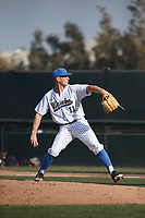 Jon Olsen (11) of the UCLA Bruins pitches against the Arizona Wildcats at Jackie Robinson Stadium on March 19, 2017 in Los Angeles, California. UCLA defeated Arizona, 8-7. (Larry Goren/Four Seam Images)