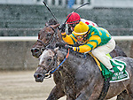 Big Screen, ridden by Irad Ortiz, and Souper Speedy, ridden by Jose Lezcano battle down the stretch in the Jaipur Stakes on Brooklyn Handicay Day at Belmont Park in Elmont, New York on June 7, 2013. Big Screen finished first, but was disqualified to second place giving the win to Souper Speedy.