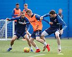 03.05.2019 Rangers training: Steven Davis with Eros Grezda and Kyle Lafferty