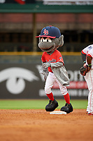Louisville Bats mascot Buddy Bat running the bases for an on field promotion during a game against the Columbus Clippers on May 1, 2017 at Louisville Slugger Field in Louisville, Kentucky.  Columbus defeated Louisville 6-1  (Mike Janes/Four Seam Images)