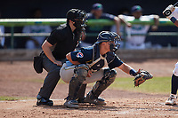 Myrtle Beach Pelicans catcher Ethan Hearn (6) sets a target as home plate umpire Ethan Gorsak looks on during the game against the Lynchburg Hillcats at Bank of the James Stadium on May 23, 2021 in Lynchburg, Virginia. (Brian Westerholt/Four Seam Images)