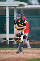 Ethan Fletchall (20), from Kansas City, Missouri, while playing for the Pirates during the Baseball Factory Pirate City Christmas Camp & Tournament on December 29, 2017 at Pirate City in Bradenton, Florida.  (Mike Janes/Four Seam Images)