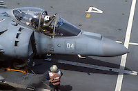 "- Italian Navy, Garibaldi aircraft carrier, vertical take-off aircraft AV-8B ""Harrier""....- Marina militare italiana, portaerei Garibaldi, aerei a decollo verticale AV-8B ""Harrier"""