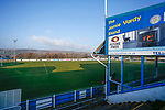 The Jamie Vardy Stand at the Look Local Stadium. Stocksbridge Park Steels v Pickering Town, Evo-Stik East Division, 17th November 2018. Stocksbridge Park Steels were born from the works team of the local British Steel plant that dominates the town north of Sheffield.<br /> Having missed out on promotion via the play offs in the previous season, Stocksbridge were hovering above the relegation zone in Northern Premier League Division One East, as they lost 0-2 to Pickering Town. Stocksbridge finished the season in 13th place.