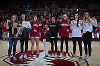 Stanford, CA - February 9, 2020: Women's Volleyball Team at Maples Pavilion. Stanford Women's Basketball defeated the USC Trojans 79-59 on their Senior Night and celebration of National Girls and Women in Sports Day.