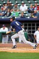 San Antonio Missions outfielder Travis Jankowski (6) hits a double during a game against the NW Arkansas Naturals on May 31, 2015 at Arvest Ballpark in Springdale, Arkansas.  NW Arkansas defeated San Antonio 3-1.  (Mike Janes/Four Seam Images)
