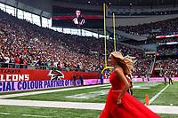 10th October 2021; Tottenham Hotspur stadium, London, England; NFL UK Series, Atlanta Falcons versus New York Jets: Singer Katherine Jenkins leaves the field of play