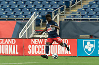 FOXBOROUGH, UNITED STATES - MAY 28: Meny Silva #36 of New England Revolution II passes the ball during a game between Fort Lauderdale CF and New England Revolution II at Gillette Stadium on May 28, 2021 in Foxborough, Massachusetts.