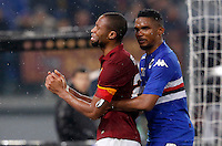 Calcio, Serie A: Roma vs Sampdoria. Roma, stadio Olimpico, 16 marzo 2015.<br /> Roma's Seydou Keita, left, is comforted by Sampdoria's Samuel Eto'o after receiving a red card during the Italian Serie A football match between Roma and Sampdoria at Rome's Olympic stadium, 16 March 2015.<br /> UPDATE IMAGES PRESS/Riccardo De Luca