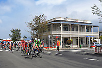 Riders race through Martinborough during stage four of the NZ Cycle Classic UCI Oceania Tour in Wairarapa, New Zealand on Wednesday, 25 January 2017. Photo: Dave Lintott / lintottphoto.co.nz