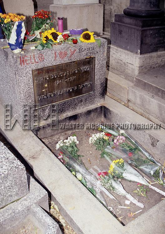 James Douglas Morrison - Jim Morison's grave site in the Pere Lachaise cemetery in Paris, France on August 18, 1998.