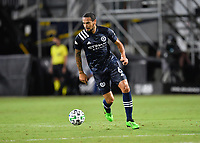 LAKE BUENA VISTA, FL - AUGUST 01: Alexander Callens #6 of New York City FC dribbles the ball during a game between Portland Timbers and New York City FC at ESPN Wide World of Sports on August 01, 2020 in Lake Buena Vista, Florida.