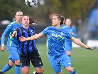 Brugge's Jody Vangheluwe pictured in a fight for the ball with Union's Delphine Host during a female soccer game between the women teams of Club Brugge YLA Dames and Union Saint-Ghislain Tertre-Hautrage Ladies on the 1/16 th qualifying round for the Belgian Womens Cup 2020  2021 , on saturday 26 th of September 2020  in Brugge , Belgium . PHOTO SPORTPIX.BE | SPP | DAVID CATRY