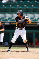 Bradenton Marauders left fielder Garrett Brown (10) at bat during a game against the Charlotte Stone Crabs on June 3, 2018 at LECOM Park in Bradenton, Florida.  Charlotte defeated Bradenton 10-1.  (Mike Janes/Four Seam Images)