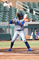 Glendale Desert Dogs shortstop Errol Robinson (3), of the Los Angeles Dodgers organization, at bat during an Arizona Fall League game against the Salt River Rafters at Salt River Fields at Talking Stick on October 31, 2018 in Scottsdale, Arizona. Glendale defeated Salt River 12-6 in extra innings. (Zachary Lucy/Four Seam Images)