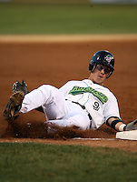 September 9 2008:  Justin Bass of the Jamestown Jammers, Class-A affiliate of the Florida Marlins, during a game at Russell Diethrick Park in Jamestown, NY.  Photo by:  Mike Janes/Four Seam Images