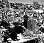 Pittsburgh PA:  View of Pastor Harold Albert of the First Lutheran Church speaking at the annual Council of Churches Easter Sunrise Services held at the Civic Arena.  The Council of Churches staged the event that included members of local Catholic, Presbyterian, Lutheran, Baptist, and other denominations in the Pittsburgh Area.  This year the roof was not opened due to weather.<br />