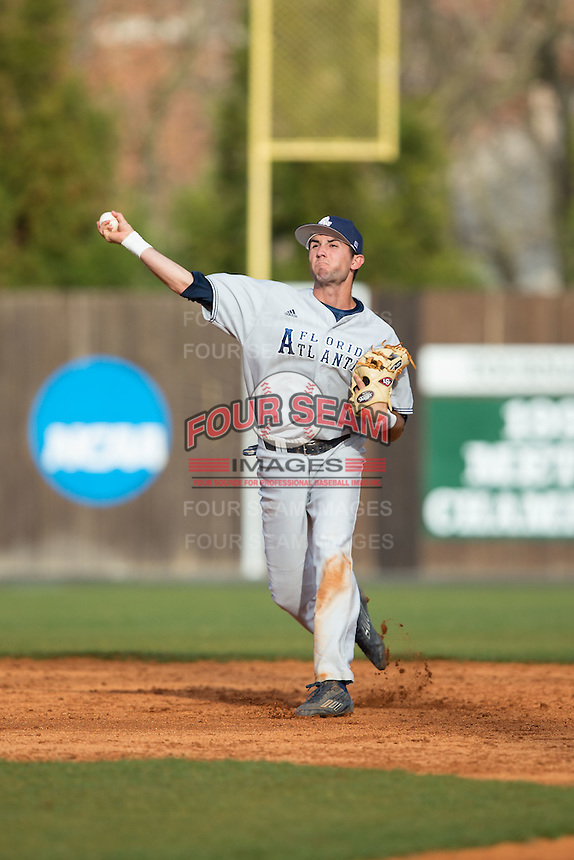 Florida Atlantic Owls shortstop CJ Chatham (10) makes a throw to first base against the Charlotte 49ers at Hayes Stadium on March 14, 2015 in Charlotte, North Carolina.  The Owls defeated the 49ers 8-3 in game one of a double header.  (Brian Westerholt/Four Seam Images)