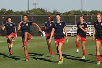 Piscataway, NJ - Saturday July 23, 2016: Washington Spirit players prior to a regular season National Women's Soccer League (NWSL) match between Sky Blue FC and the Washington Spirit at Yurcak Field.