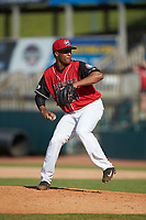 Hickory Crawdads relief pitcher Kelvin Gonzalez (38) in action against the Greensboro Grasshoppers at L.P. Frans Stadium on May 26, 2019 in Hickory, North Carolina. The Crawdads defeated the Grasshoppers 10-8. (Brian Westerholt/Four Seam Images)