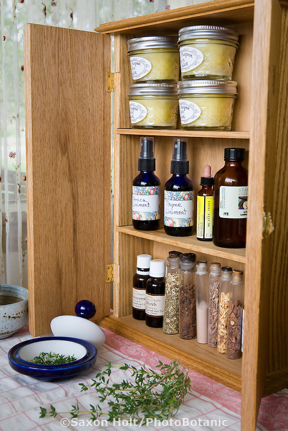 Homeopathic herbal liniments and salves in medicine cabinet