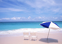 Beach chairs and umbrella, horizontal