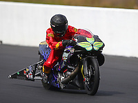 Mar 14, 2015; Gainesville, FL, USA; NHRA pro stock motorcycle rider Shawn Gann during qualifying for the Gatornationals at Auto Plus Raceway at Gainesville. Mandatory Credit: Mark J. Rebilas-