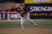 Modesto Nuts shortstop Bryson Brigman (8) makes a throw to first base during a California League game against the San Jose Giants at San Jose Municipal Stadium on May 15, 2018 in San Jose, California. Modesto defeated San Jose 7-5. (Zachary Lucy/Four Seam Images)