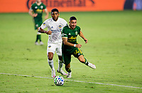 CARSON, CA - OCTOBER 07: Marvin Loria #44 of the Portland Timbers moves with the ball during a game between Portland Timbers and Los Angeles Galaxy at Dignity Heath Sports Park on October 07, 2020 in Carson, California.
