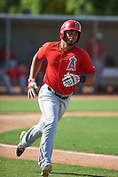Los Angeles Angels Natanael Delgado (17) during an instructional league game against the Texas Rangers on October 5, 2015 at the Surprise Stadium Training Complex in Surprise, Arizona.  (Mike Janes/Four Seam Images)