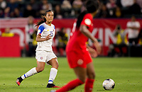 CARSON, CA - FEBRUARY 07: Stephannie Blanco #15 of Costa Rica moves with the ball during a game between Canada and Costa Rica at Dignity Health Sports Complex on February 07, 2020 in Carson, California.
