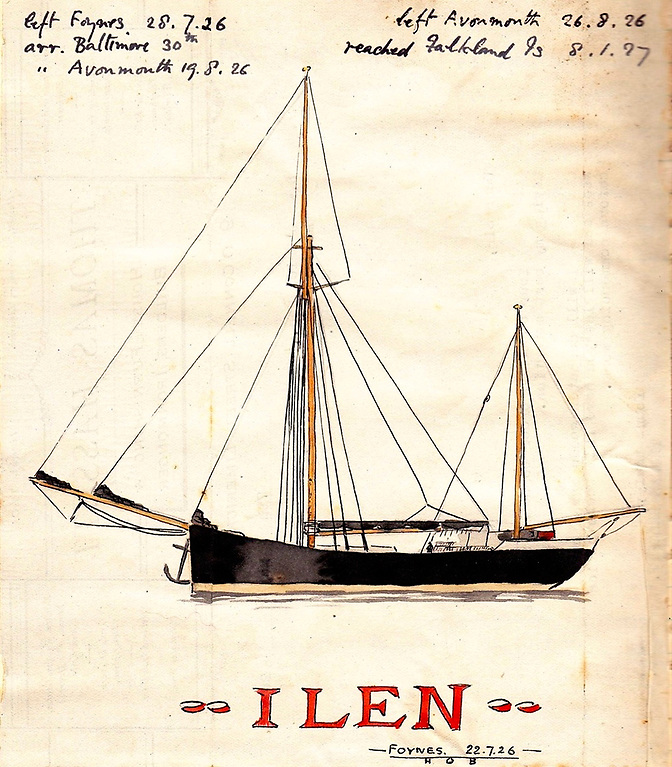 The newly-built Ilen at Foynes on 22nd July 1926, as recorded in his own highly personal style by Harbour Master Hugh O'Brien