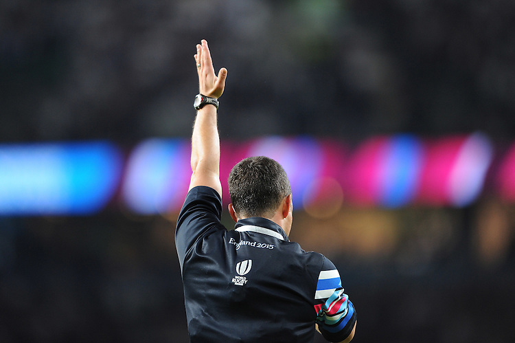 Referee Jaco Peyper of South Africa awards the final try scored by Mako Vunipola of England during Match 1 of the Rugby World Cup 2015 between England and Fiji - 18/09/2015 - Twickenham Stadium, London <br /> Mandatory Credit: Rob Munro/Stewart Communications