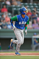 Catcher M.J. Melendez (7) of the Lexington Legends runs out a batted ball during a game against the Greenville Drive on Saturday, September 1, 2018, at Fluor Field at the West End in Greenville, South Carolina. Greenville won, 9-6. (Tom Priddy/Four Seam Images)