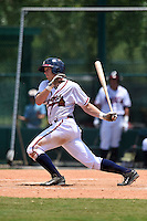 GCL Braves second baseman Luke Dykstra (5) at bat during a game against the GCL Blue Jays on June 27, 2014 at ESPN Wide World of Sports in Orlando, Florida.  GCL Braves defeated GCL Blue Jays 10-9.  (Mike Janes/Four Seam Images)