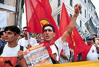 - manifestations against the international G8 summit in Genoa, July 2001, Kurdistan refugees....- manifestazioni contro il summit internazionale G8 a Genova nel luglio 2001, profughi dal Kurdistan