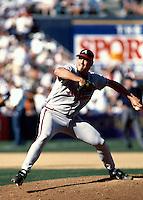 John Rocker of the Atlanta Braves participates in a baseball game at Qualcomm Stadium during the1998 season in San Diego, California. (Larry Goren/Four Seam Images)