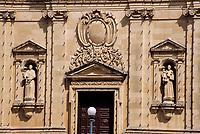 Victoria, Gozo. - Church Facade, St. Francis Square.  Stonework.