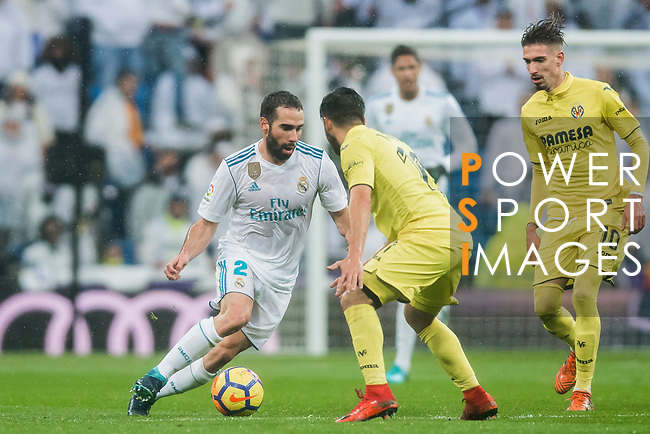 Daniel Carvajal Ramos (L) of Real Madrid is tackled by Jaume Vicent Costa Jorda, J Costa, of Villarreal CF during the La Liga 2017-18 match between Real Madrid and Villarreal CF at Santiago Bernabeu Stadium on January 13 2018 in Madrid, Spain. Photo by Diego Gonzalez / Power Sport Images