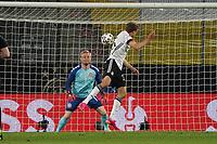 2nd June 2021, Tivoli Stadion, Innsbruck, Austria; International football friendly, Germany versus Denmark;  Thomas Mueller Germany heads towards goalkeeper Kasper Schmeichel Denmark