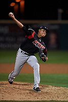 Lake Elsinore Storm relief pitcher Diomar Lopez (34) delivers a pitch during a California League game against the Rancho Cucamonga Quakes at LoanMart Field on May 19, 2018 in Rancho Cucamonga, California. Lake Elsinore defeated Rancho Cucamonga 10-7. (Zachary Lucy/Four Seam Images)