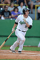 Marcu Littlewood #23 of the Clinton LumberKings swings against the South Bend Silver Hawks at Ashford University Field on July 26, 2014 in Clinton, Iowa. The Sliver Hawks won 2-0.   (Dennis Hubbard/Four Seam Images)