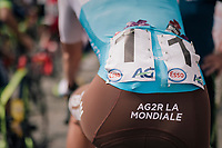 Oliver Naesen (BEL/AG2R-La Mondiale) wearing the #1 as the defending national champion (at the start of the race)<br /> <br /> Belgian National Championships 2018 (road) in Binche (224km)<br /> ©kramon