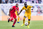 Awer Mabil of Australia (R) is followed by Khalil Baniateyah of Jordan (L) during the AFC Asian Cup UAE 2019 Group B match between Australia (AUS) and Jordan (JOR) at Hazza Bin Zayed Stadium on 06 January 2019 in Al Ain, United Arab Emirates. Photo by Marcio Rodrigo Machado / Power Sport Images