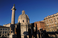 Roma.Chiesa del Santissimo Nome di Maria al Foro Traiano..Rome.Church of the Most Holy Name of Mary at the Trajan Forum.Colonna Traiana Trajan Column...