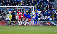 Sean Morrison of Cardiff City scores his side's first goal during the Sky Bet Championship match between Cardiff City and Middlesbrough at the Cardiff City Stadium, Cardiff, Wales on 17 February 2018. Photo by Mark Hawkins / PRiME Media Images.