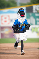 Missoula mascot Ollie Osprey between innings of a Pioneer League game against the Orem Owlz at Ogren Park Allegiance Field on August 19, 2018 in Missoula, Montana. The Missoula Osprey defeated the Orem Owlz by a score of 8-0. (Zachary Lucy/Four Seam Images)