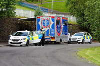 Pictured: Police near Waun Wen, where the riot took place in Mayhill, Swansea, Wales, UK. Wednesday 16 June 2021<br /> Re: Riot aftermath in the Mayhill area of Swansea, Wales, UK.