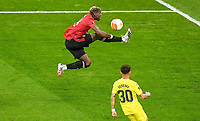 26th May 2021; STADION GDANSK  GDANSK, POLAND; UEFA EUROPA LEAGUE FINAL, Villarreal CF versus Manchester United:  Paul Pogba brings down a difficult through ball